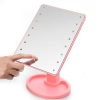 Косметическое Зеркало с ЛЕД подсветкой для макияжа Large 22 LED Mirror (Pink)