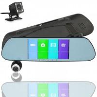 Автомобильный видеорегистратор зеркало DVR V9TP 3 камеры (Black)
