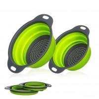 Корзины складные W86 2 шт для мытья овощей и фруктов (Green Gray)